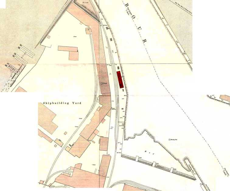 Waiting Room and Booking Office marked on OS 1893 map of Leith Docks. Click on the icon lower left to explore at full resolution.