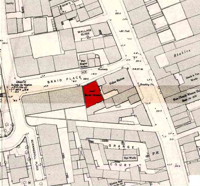 """The first Jewish burial ground in Scotland was located at Braid Place, now Sciennes House Place. Twenty-nine burials took place between 1790-1867. David Daiches records in """"The Jew in Scotland"""" that Glasgow Jews brought their dead to Braid Place for burial until they acquired a burial place of their own. When the cemetery became full land was acquired in Echo Bank Cemetery, now Newington Cemetery. Click on the icon lower right to explore at full resolution."""