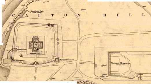 Map section showing Calton Hill observatory & Jewish burial grounds. Reproduced by permission of the National Library of Scotland. Click on the icon lower right to explore at full resolution.