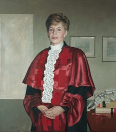 The Right Honourable Lady Hazel Cosgrove, CBE née Aronson (Glasgow 1946 – ) is a Scottish lawyer. She was the first female judge to be appointed in Scotland, having served as Sheriff in Glasgow (1979 – 83) and in Edinburgh (1983 – 96). She graduated from Glasgow University in 1966 and was admitted to the Faculty of Advocates in 1968. In February 2003, Hazel Cosgrove was appointed to the Inner House of the Court of Session and sworn of Her Majesty's Privy Council. She received a CBE in 2004 for services to the criminal justice system in Scotland and has also been awarded honorary degrees from a number of institutions. She currently divides her time between London, Edinburgh and Israel. (Image: David Reid, Lady Cosgrove, courtesy of the artist)