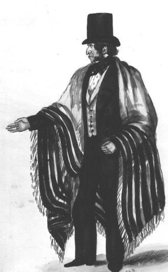 "B&W ink wash of Moses Joel According to archival documents, the first minister of Edinburgh's Jewish community was Moses Joel, licensed in 1831 as a shochet (trained and licensed to slaughter animals and birds in accordance with the laws of shechita). Listed in Edinburgh's directories as a ""clothier"" and ""priest of the Jews"", he attended to the small Jewish congregation at the Richmond Street Synagogue. (Image courtesy of the Scottish Jewish Archives Centre.)"